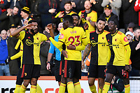 Watford players celebrate the second goal scored by Troy Deeney of Watford 2nd right during AFC Bournemouth vs Watford, Premier League Football at the Vitality Stadium on 12th January 2020
