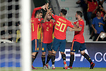 Spain's Dani Ceballos, Rodrigo Moreno, Dani Carvajal, Marco Asensio and Nacho Fernandez celebrate goal during UEFA Nations League 2019 Final Tournament match. September 11,2018.(ALTERPHOTOS/Acero)