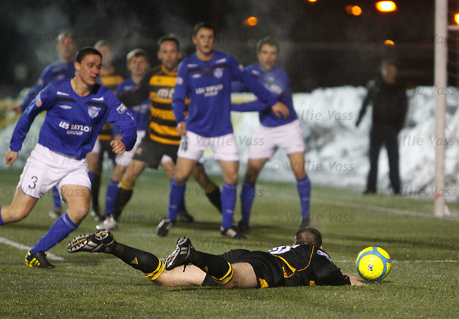 Alloa's Stuart Noble tripped in the box by David Ross for an 89th minute penalty
