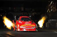 Nov. 12, 2011; Pomona, CA, USA; NHRA funny car driver Cory Lee during qualifying at the Auto Club Finals at Auto Club Raceway at Pomona. Mandatory Credit: Mark J. Rebilas-.