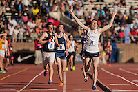 Tom Coyle of La Salle College High School celebrates while crossing the finish line to win the High School Boys Distance Medley Relay Championship of America, Friday April 26, 2013 at the Penn Relays.