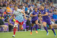 Orlando, FL - Saturday July 01, 2017: Sofia Huerta, Steph Catley during a regular season National Women's Soccer League (NWSL) match between the Orlando Pride and the Chicago Red Stars at Orlando City Stadium.