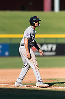 Salt River Rafters third baseman Josh Fuentes (19), of the Colorado Rockies organization, takes a lead off third base during an Arizona Fall League game against the Mesa Solar Sox at Sloan Park on October 30, 2018 in Mesa, Arizona. Salt River defeated Mesa 14-4 . (Zachary Lucy/Four Seam Images)