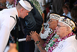 E-3 Nicholas Fuglsby, left, talks with Pearl Harbor survivors Sterling Cole, center, and Edgar Harrison before he 71st Anniversary Pearl Harbor Day Commemoration at the Pearl Harbor Visitor Center in Honolulu, HI on, Dec. 7, 2012. .Photo by Cathleen Allison