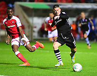 Lincoln City's Billy Knott scores his side's equalising goal to make the score 1-1<br /> <br /> Photographer Andrew Vaughan/CameraSport<br /> <br /> The Carabao Cup First Round - Rotherham United v Lincoln City - Tuesday 8th August 2017 - New York Stadium - Rotherham<br />  <br /> World Copyright &copy; 2017 CameraSport. All rights reserved. 43 Linden Ave. Countesthorpe. Leicester. England. LE8 5PG - Tel: +44 (0) 116 277 4147 - admin@camerasport.com - www.camerasport.com