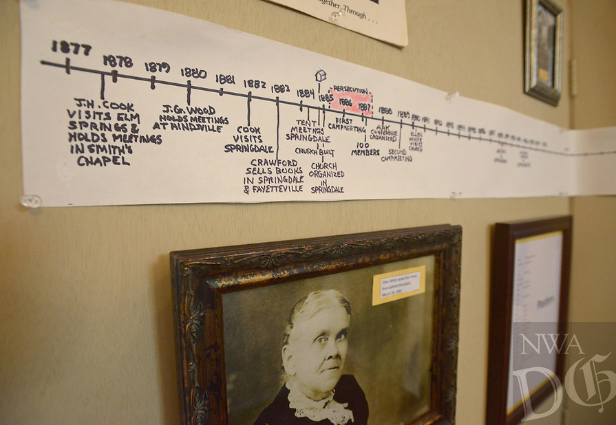 NWA Democrat-Gazette/BEN GOFF @NWABENGOFF<br /> A timeline details the history of the congregation on Friday May 20, 2016 as part of a display marking the 130th anniversary at Springdale Adventist Fellowship.