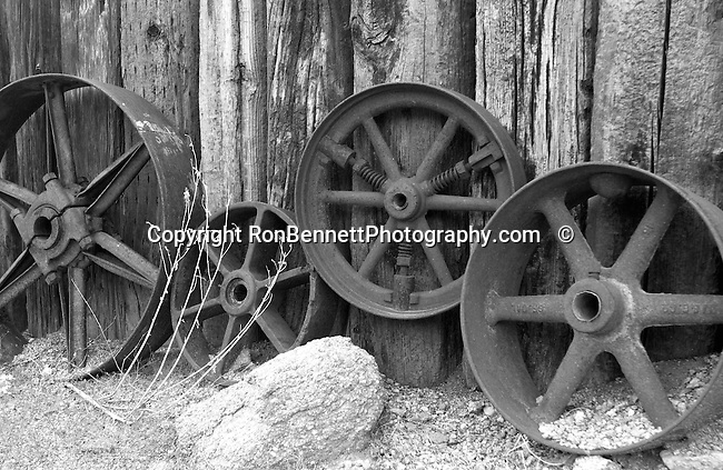 Mining wheels Arizona, Gold mine wheels, Mining wheels Arizona, Gold mine wheels, Wheels for mining, Gold mine wheels in Arizona desert,  Wheels, gold mining equipment wheels, Gold mining ghost town, ghost town, Gold mining, gold, goldmine, remove gold, Robson's mining world Wickenburg Arizona,  Bennett, Black and White Photographs, Black & White Photo's, B&W Photographs,Fine Art Photography by Ron Bennett, Fine Art, Fine Art photography, Art Photography, Copyright RonBennettPhotography.com ©