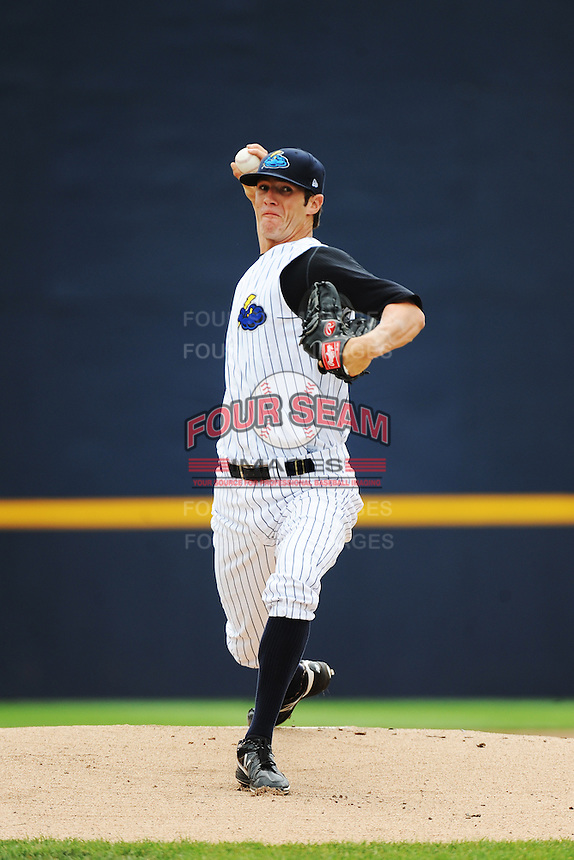 Trenton Thunder pitcher Shane Greene (27) during game against the Altoona Curve at ARM & HAMMER Park on July 24, 2013 in Trenton, NJ.  Altoona defeated Trenton 4-2.  Tomasso DeRosa/Four Seam Images