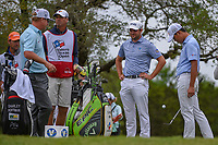 Si Woo Kim (KOR), Corey Conners (CAN), and Charley Hoffman (USA) wait to tee off on 2 during day 4 of the Valero Texas Open, at the TPC San Antonio Oaks Course, San Antonio, Texas, USA. 4/7/2019.<br /> Picture: Golffile | Ken Murray<br /> <br /> All photo usage must carry mandatory copyright credit (© Golffile | Ken Murray)