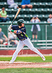 4 September 2017: Vermont Lake Monsters infielder Ryan Gridley in action during the second game of a double-header against the Tri-City ValleyCats at Centennial Field in Burlington, Vermont. The Lake Monsters split their games, falling 6-5 in the first, then winning the second 7-4, thus clinching the NY Penn League Stedler Division Championship. Mandatory Credit: Ed Wolfstein Photo *** RAW (NEF) Image File Available ***