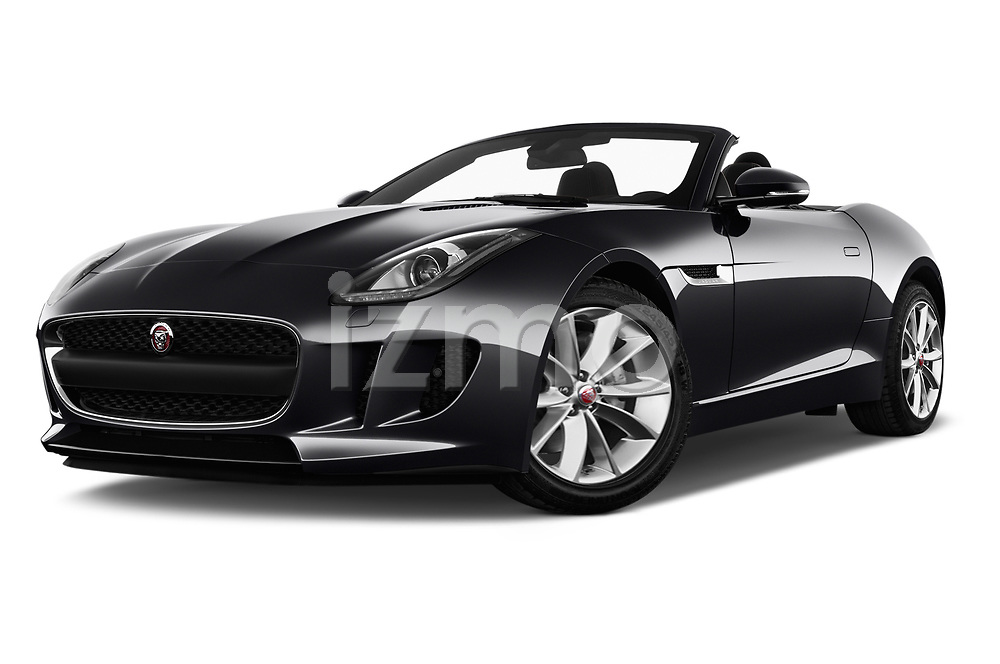 Stock pictures of low aggressive front three quarter view of a 2018 Jaguar F-Type Base 2 Door Convertible