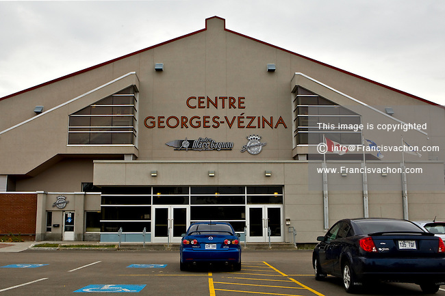 Outside view of the Centre Georges-Vezina arena in the Saguenay borough of Chicoutimi September 24, 2008. The Centre Georges-Vézina, formerly the Colisee de Chicoutimi, is a 4,651 capacity (3,683 seated) multi-purpose arena and home of the home to the QMJHL (LHJMQ) Chicoutimi Sagueneens.