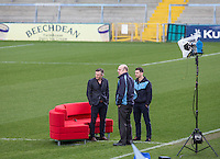 Gareth Ainsworth, Trevor Stroud & Matt Bloomfield look on During BBC Breakfast as they air their live broadcast on Tuesday morning, presented by Bill Turnbull for his penultimate appearance on the programme at Adams Park, High Wycombe, England on 23 February 2016. Photo by Andy Rowland.