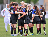 Monfalcone, Italy, April 26, 2016.<br /> USA's players celebrating Vatne's goal during USA v Iran football match at Gradisca Tournament of Nations (women's tournament). Monfalcone's stadium.<br /> &copy; ph Simone Ferraro / Isiphotos
