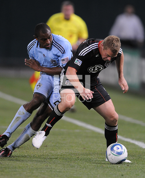DC United forward Danny Allsopp (9) shields the ball against Colorado Rapids defender Danny Earls (2). The Colorado Rapids defeated DC United 1-0 at RFK Stadium, Saturday May 15, 2010.