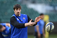 Paul Grant of Bath United passes the ball during the pre-match warm-up. Aviva A-League match, between Bath United and Harlequins A on March 26, 2018 at the Recreation Ground in Bath, England. Photo by: Patrick Khachfe / Onside Images