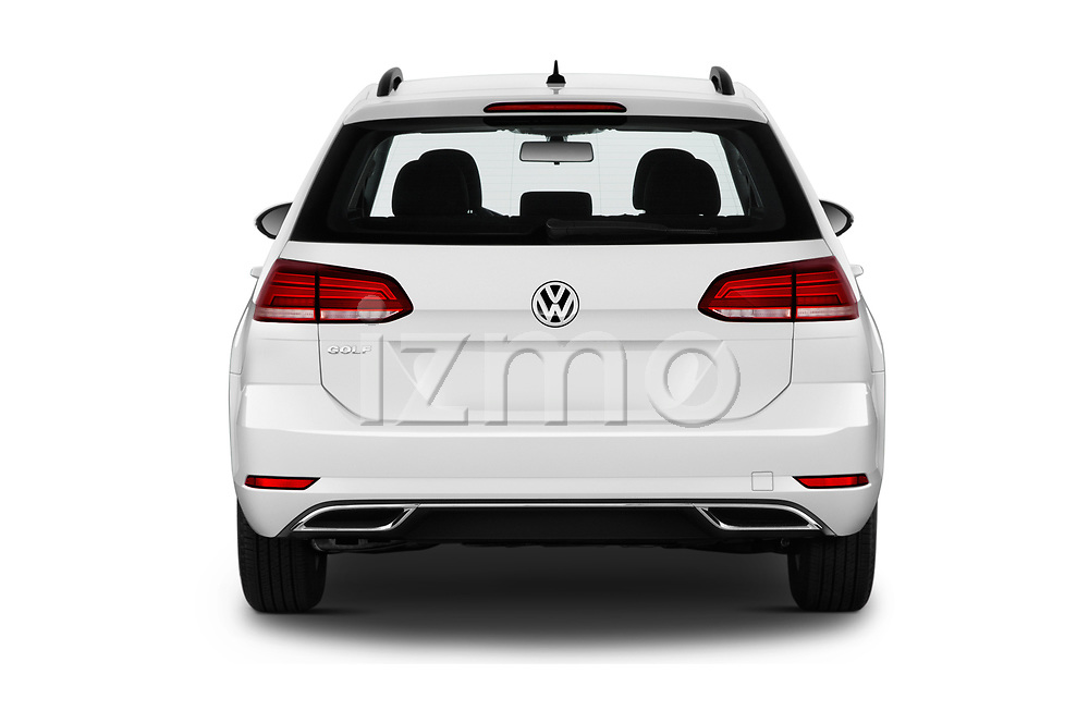 Straight rear view of a 2019 Volkswagen Golf SportWagen S 5 Door Wagon stock images