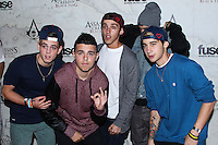 WEST HOLLYWOOD, CA - OCTOBER 22: Beau Brooks, Jai Brooks, Luke Brooks, Daniel Sahyounie and James Yammouni of The Janoskians arrive at Assasin's Creed IV Black Flag Launch Party held at Greystone Manor Supperclub on October 22, 2013 in West Hollywood, California. (Photo by Xavier Collin/Celebrity Monitor)