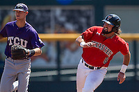 Texas Tech Red Raiders outfielder Tanner Gardner (8) rounds second base against the TCU Horned Frogs in Game 3 of the NCAA College World Series on June 19, 2016 at TD Ameritrade Park in Omaha, Nebraska. TCU defeated Texas Tech 5-3. (Andrew Woolley/Four Seam Images)