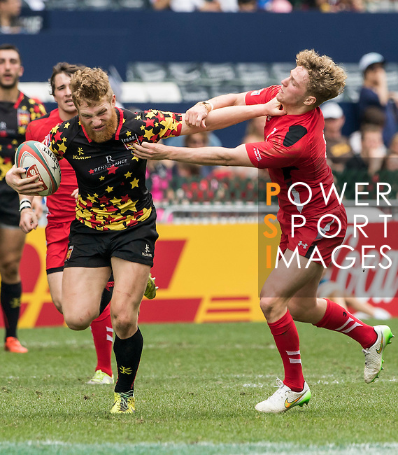 Wales vs Belgium during the HSBC Sevens Wold Series Bowl Quarter Finals match as part of the Cathay Pacific / HSBC Hong Kong Sevens at the Hong Kong Stadium on 29 March 2015 in Hong Kong, China. Photo by Jerome Favre / Power Sport Images