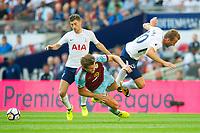 Tottenham's Harry Kane   Burnley James Tarkowski during the Premier League match between Tottenham Hotspur and Burnley at White Hart Lane, London, England on 27 August 2017. Photo by Andrew Aleksiejczuk / PRiME Media Images.