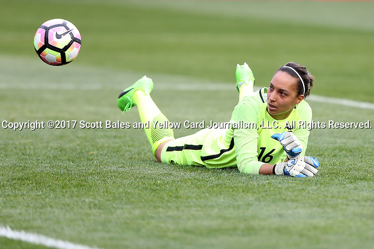 CHESTER, PA - MARCH 01: Sarah Bouhaddi (FRA) watches the ball bounce back out of the net after surrendering a goal. The England Women's National Team played the France Women's National Team as part of the She Believes Cup on March, 1, 2017, at Talen Engery Stadium in Chester, PA. The France won the game 2-1.
