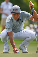 Rickie Fowler (USA) lines up his putt on 3 during round 2 of the 2019 Tour Championship, East Lake Golf Course, Atlanta, Georgia, USA. 8/23/2019.<br /> Picture Ken Murray / Golffile.ie<br /> <br /> All photo usage must carry mandatory copyright credit (© Golffile | Ken Murray)