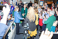 Democratic presidential candidate and Massachusetts senator Elizabeth Warren greets people in the NH State House Visitors Center after she filed paperwork to get on the primary ballot at the NH State House in Concord, New Hampshire, on Wed., November 13, 2019. Warren also held a small rally outside the State House after filing her paperwork. The NH State House visitors center has a display of signed campaign memorabilia from current and former presidential candidates going back decades.