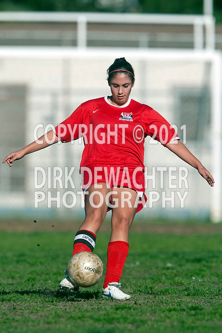Los Angeles, CA 02/10/10 -  Melanie Barreno (Westchester #14) in action during the Westchester-University Girls Varsity soccer game at University High School, University defeated Westchester 3-0.