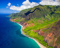 Kalalau Beach and Kalalau Valley, Na Pali Coast, Kauai, Hawaii, USA, Pacific Ocean