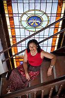 Poet Teresa Church, inside Hayti Heritage Center in Durham, NC.