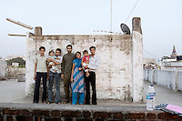 Parekh family portrait on top of the family's rooftop in Surat, Gujarat, India.