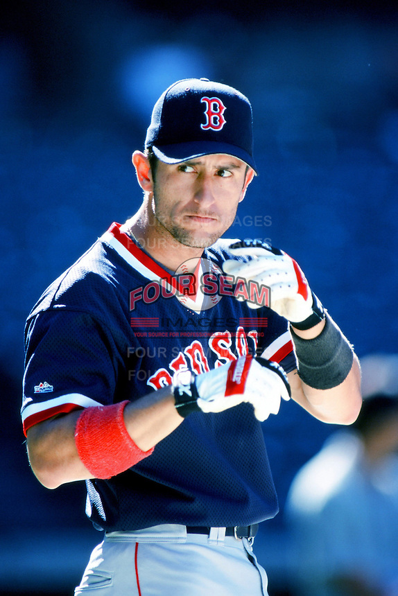 Nomar Garciaparra of the Boston Red Sox before a 1999 Major League Baseball season game against the Anaheim Angels in Anaheim, California. (Larry Goren/Four Seam Images)