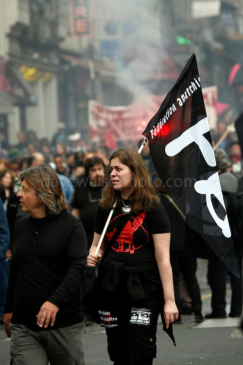 Anarchist protestor, May Day March, Paris, 1 May 2009