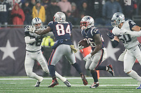 FOXBOROUGH, MA - NOVEMBER 24: New England Patriots Runningback Sony Michel #26 runs up the middle during a game between Dallas Cowboys and New England Patriots at Gillettes on November 24, 2019 in Foxborough, Massachusetts.