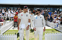 21st November 2019; Mt Maunganui, New Zealand;  Joe Root and Kane Williamson lead their teams out onto the field. international test match cricket, Day 1, New Zealand versus England at Bay Oval, Mt Maunganui, New Zealand.
