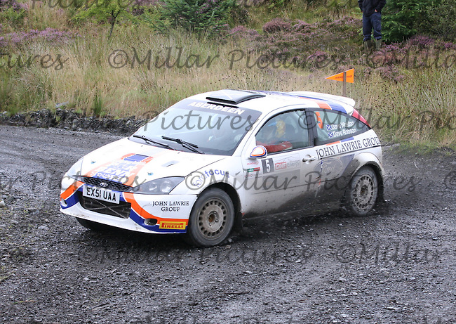 Dave Weston - Dave Robson at Junction 3 on Special Stage 4 J & B Print Arroch Hill of the GWF Energy Merrick Stages Rally 2013, Round 7 of the RAC MSA Scotish Rally Championship which was organised by Machars Car Club and Scottish Sporting Car Club and based in Wigtown on 7.9.13.