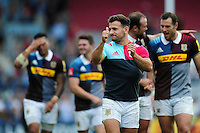 Danny Care of Harlequins gives a thumbs up to supporters after the match. Aviva Premiership match, between Harlequins and Saracens on September 24, 2016 at the Twickenham Stoop in London, England. Photo by: Patrick Khachfe / JMP