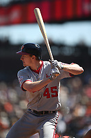SAN FRANCISCO, CA - APRIL 25:  Andrew Stevenson #45 of the Washington Nationals bats against the San Francisco Giants during the game at AT&T Park on Wednesday, April 25, 2018 in San Francisco, California. (Photo by Brad Mangin)