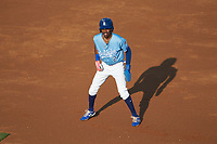 Maikel Garcia (2) of the Burlington Royals takes his lead off of first base against the Danville Braves at Burlington Athletic Stadium on August 9, 2019 in Burlington, North Carolina. The Royals defeated the Braves 6-0. (Brian Westerholt/Four Seam Images)