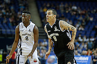 Steve O of Jackass prepares to pounce with Jermain Jackman Winner of The Voice UK looking on during Hoops Aid 2015 Celebrity AllStars Basketball Match at the o2 Arena, London, England on 10 May 2015. Photo by Andy Rowland.