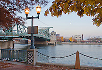 The Jefferson Street Bridge crosses the DesPlaines River into downtown Joliet, Illilnois (looking east from BiCentennial Park)