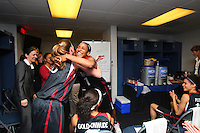 6 April 2008: Stanford Cardinal Candice Wiggins and Jeanette Pohlen during Stanford's 82-73 win against the Connecticut Huskies in the 2008 NCAA Division I Women's Basketball Final Four semifinal game at the St. Pete Times Forum Arena in Tampa Bay, FL.