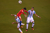Action photo during the match Argentina vs Chile corresponding to the Final of America Cup Centenary 2016, at MetLife Stadium.<br /> <br /> Foto durante al partido Argentina vs Chile cprresponidente a la Final de la Copa America Centenario USA 2016 en el Estadio MetLife , en la foto:(i-d)Javier Mascherano de Argentina y Edson Puch de Chile<br /> <br /> <br /> 26/06/2016/MEXSPORT/JAVIER RAMIREZ