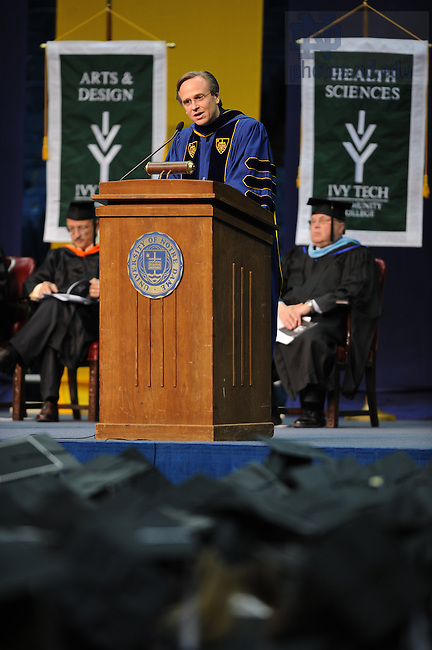 Rev. John Jenkins, C.S.C. delivers the commencement address at Ivy Tech's commencement ceremonies May 9, 2008 at the Joyce Center.