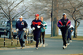 United States President Bill Clinton has a morning jog in Washington, DC on February 11, 1993.<br /> Credit: Dennis Brack / Pool via CNP