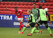 24th March 2018, The Valley, London, England;  English Football League One, Charlton Athletic versus Plymouth Argyle; Tariqe Fosu of Charlton Athletic takes a curling shot fir attempted goal past Oscar Threlkeld of Plymouth Argyle and Yann Songo'o of Plymouth Argyle