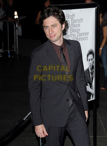 "ZACH BRAFF.L.A. Premiere of ""The Last Kiss"" held at The DGA in West Hollywood, California, USA..September 13th, 2006.Ref: DVS.half length black pinstripe suit jacket.www.capitalpictures.com.sales@capitalpictures.com.©Debbie VanStory/Capital Pictures"