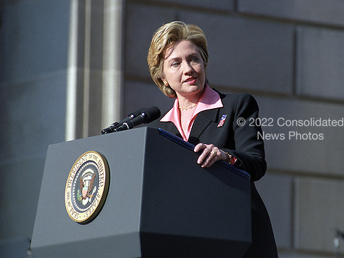 First lady Hillary Rodham Clinton makes remarks during the Opening Ceremonies of America's Millennium Celebration in Washington, D.C. on December 31, 1999.<br /> Credit: Ron Sachs / CNP