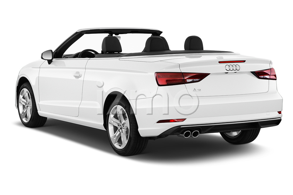 Car pictures of rear three quarter view of a 2018 Audi A3 Premium 2 Door Convertible angular rear